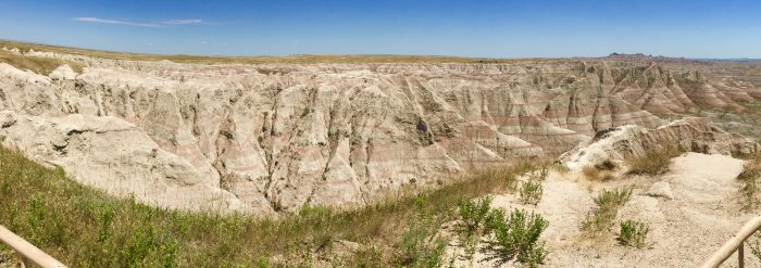 striated rock formations at Badlands National Park